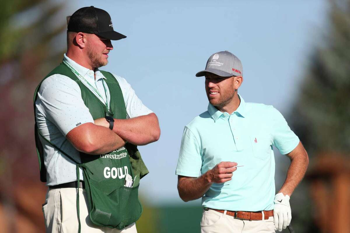 SOUTH LAKE TAHOE, NEVADA - JULY 10: NFL athlete Robbie Gould (R) and his caddy NFL athlete Mike McGlinchey look on from the fist hole during round two of the American Century Championship at Edgewood Tahoe South golf course on July 10, 2020 in South Lake Tahoe, Nevada. (Photo by Jed Jacobsohn/Getty Images)