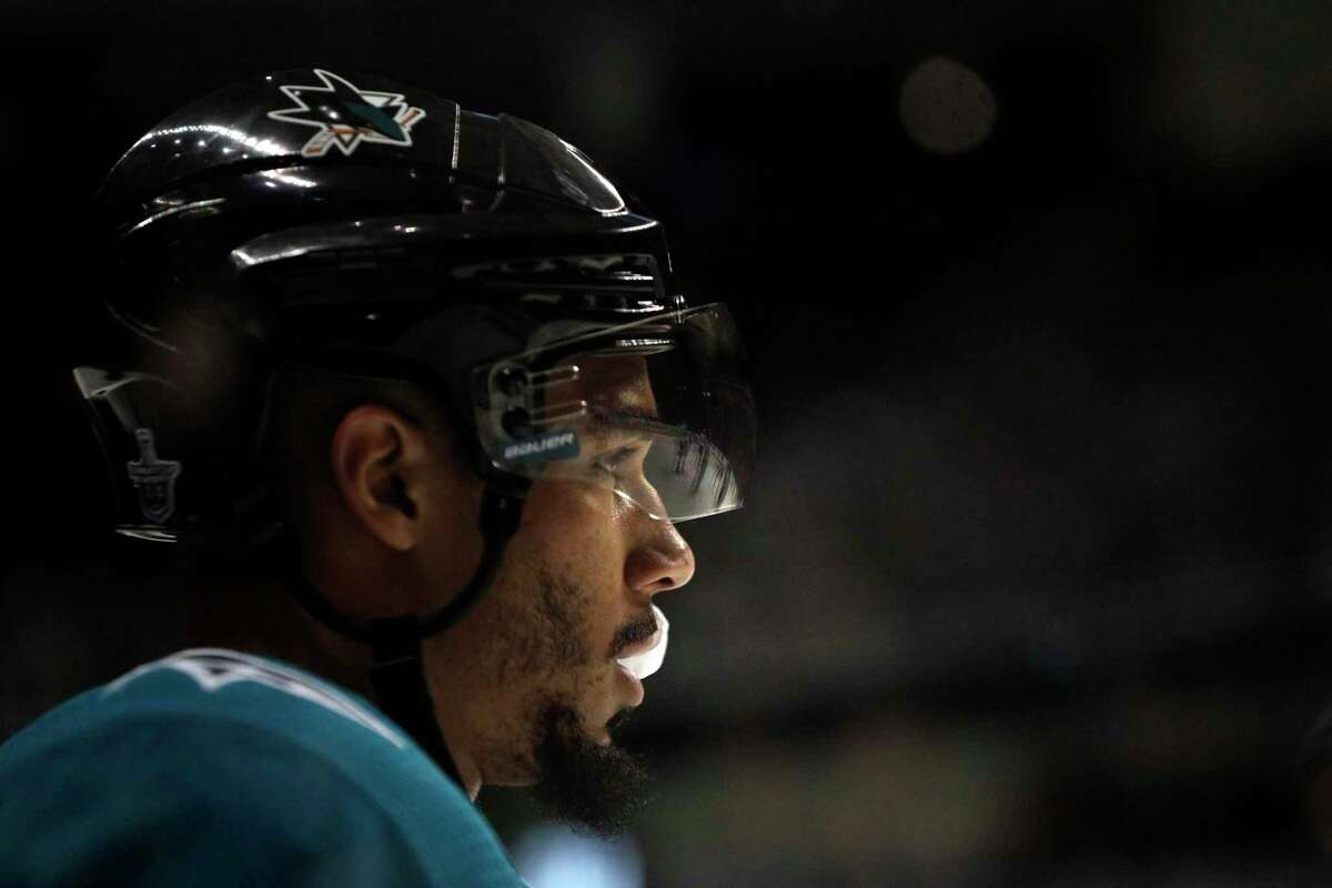Evander Kane (9) back on the ice in the first period as the San Jose Sharks played the Vegas Golden Knights in Game 1 of the second round of the NHL Stanley Cup Playoffs at SAP Center in San Jose, Calif., on Monday, April 30, 2018.