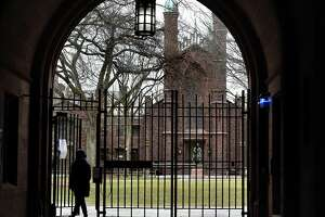 The Phelps Gate entrance to Yale University's Old Campus in New Haven on March 16, 2021.