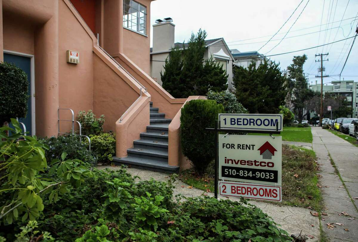 Signs advertise apartments for rent at 285 Lenox Ave. in the Adams Point neighborhood on Tuesday, January 12, 2021, in Oakland, Calif.