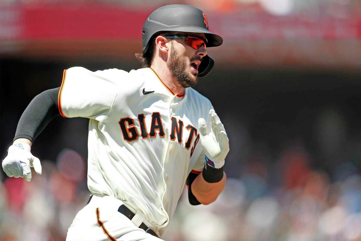San Francisco Giants' Kris Bryant reacts to his 3rd inning solo home run against Houston Astros during MLB game at Oracle Park in San Francisco, Calif., on Sunday, August 1, 2021.
