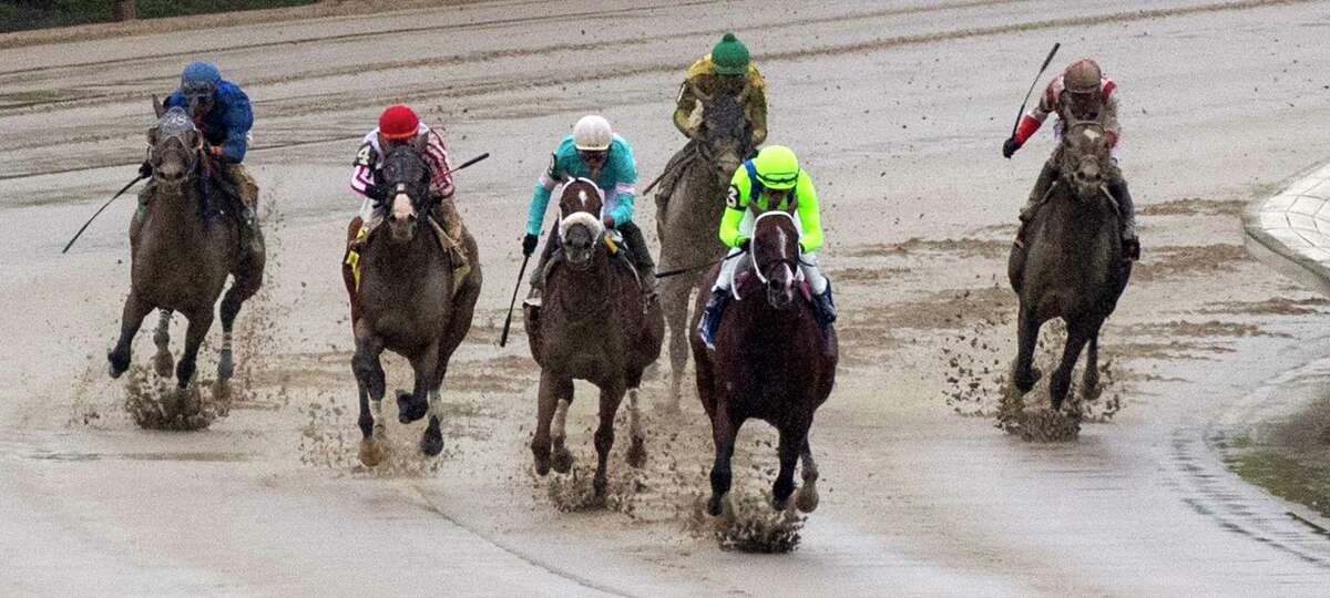 Jackie?•s Warrior with jockey Joel Rosario aboard leads the field at the top of the stretch on the way to the win in the 29th running of The Amsterdam at the Saratoga Race Course Sunday Aug 1, 2021 in Saratoga Springs, N.Y. Photo by Skip Dickstein