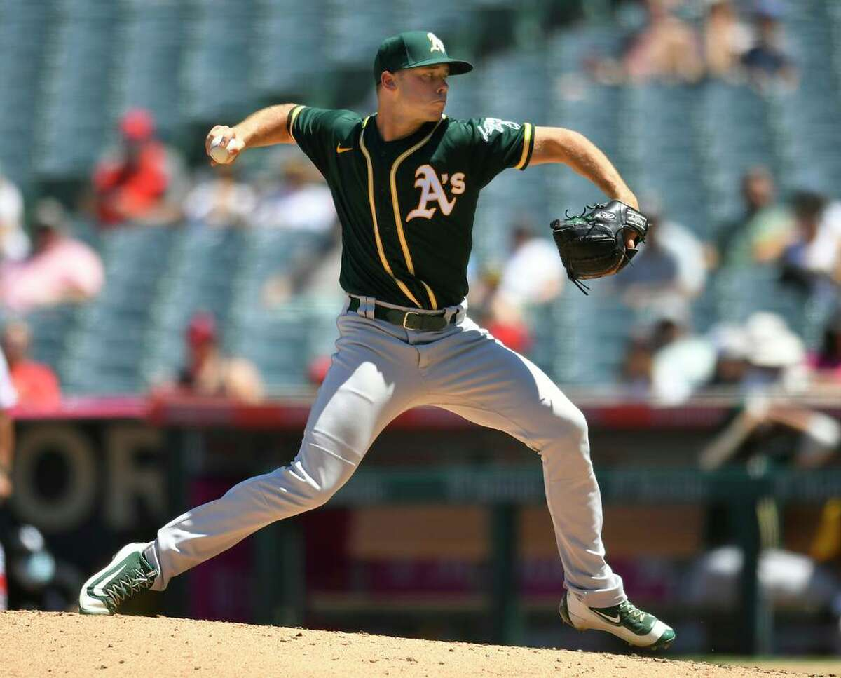 A's pitcher Daulton Jefferies won his first major-league game on Sunday against the Angels in Anaheim.