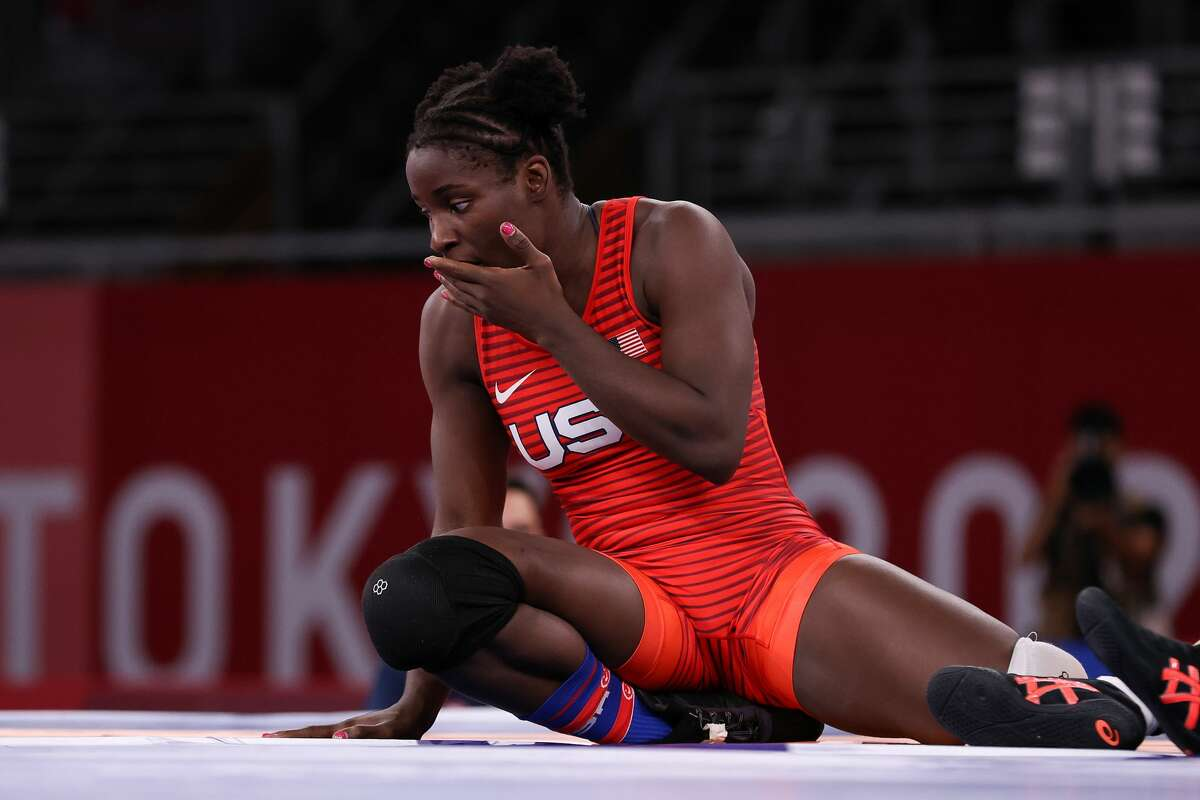 CHIBA, JAPAN - AUGUST 02: Tamyra Marianna Stock Mensah of Team United States reacts after her victory against Sara Dosho of Team Japan during the Women's Freestyle 68kg 1/8 Final on day ten of the Tokyo 2020 Olympic Games at Makuhari Messe Hall on August 02, 2021 in Chiba, Japan. (Photo by Tom Pennington/Getty Images)