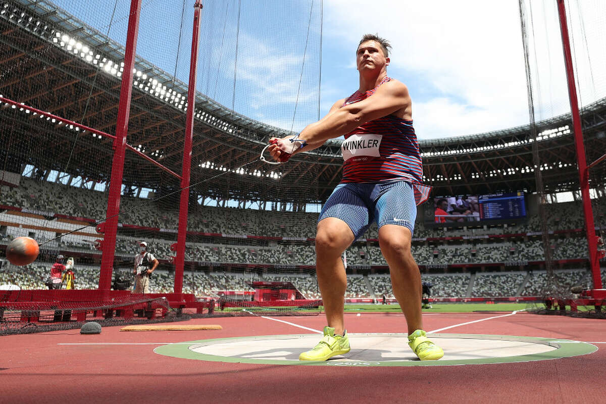 Averill Park graduate Rudy Winkler competes in the Men's Hammer Throw Qualification on day ten of the Tokyo 2020 Olympic Games at Olympic Stadium on August 02, 2021 in Tokyo, Japan. (Photo by Christian Petersen/Getty Images)