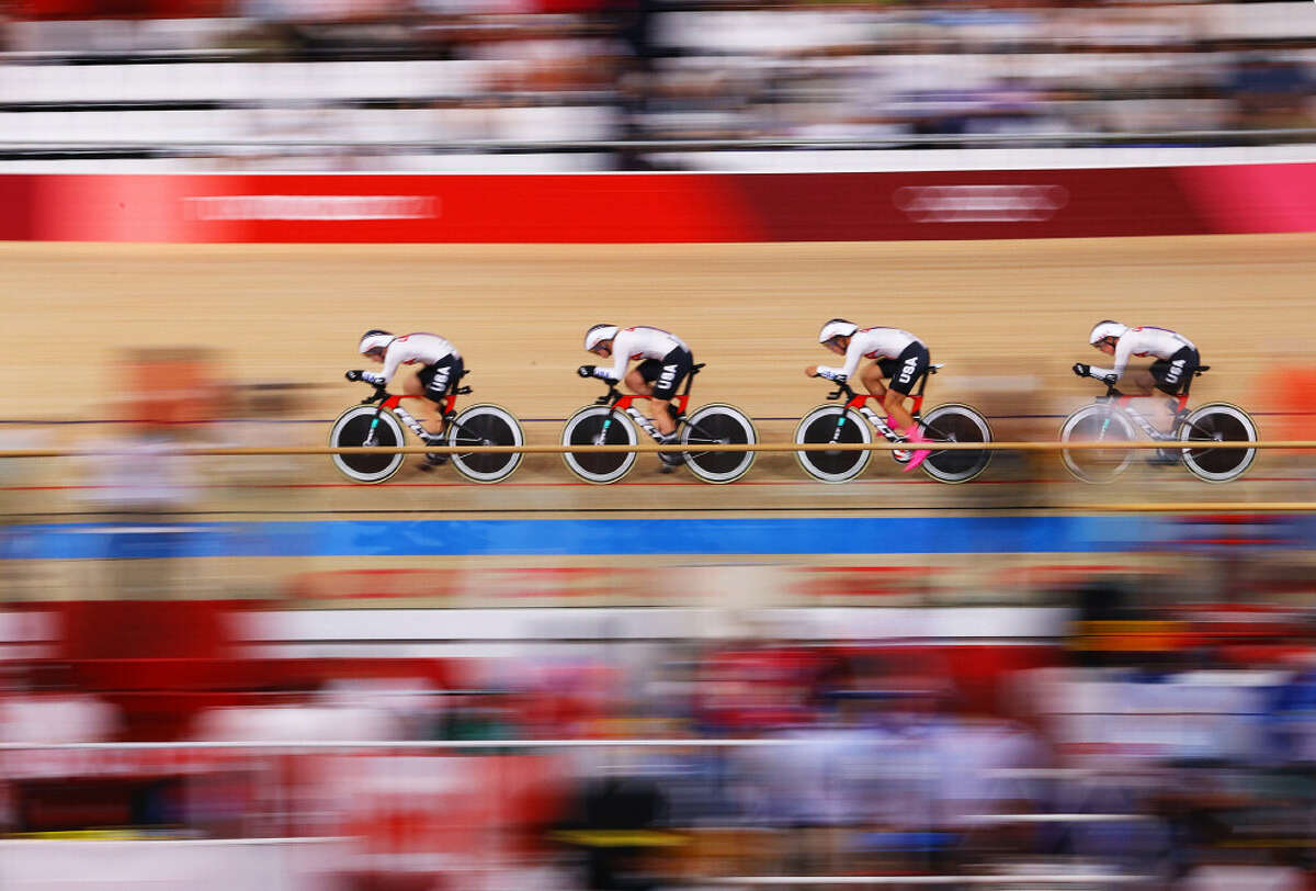 Jennifer Valente, Duanesburg's Emma White, Chloe Dygert and Lily Williams of the United States sprint during the Women's team pursuit qualifying of the Track Cycling on day 10 of the Tokyo Olympics 2021 games at Izu Velodrome on August 02, 2021 in Izu, Shizuoka, Japan. (Tim de Waele/Getty Images)