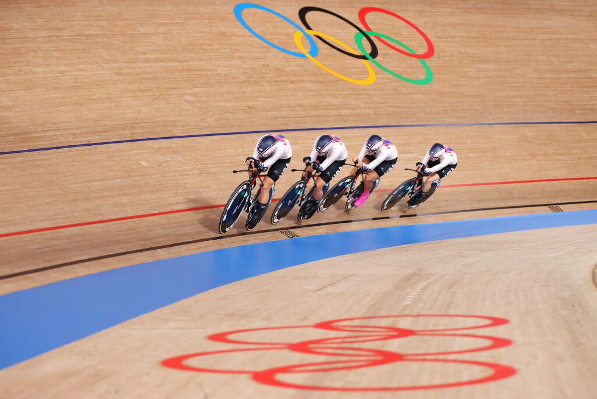 Jennifer Valente, Duanesburg's Emma White, Chloe Dygert and Lily Williams of the United States sprint during the Women's team pursuit qualifying of the Track Cycling on day 10 of the Tokyo Olympics 2021 games at Izu Velodrome on August 02, 2021 in Izu, Shizuoka, Japan. (Justin Setterfield/Getty Images)