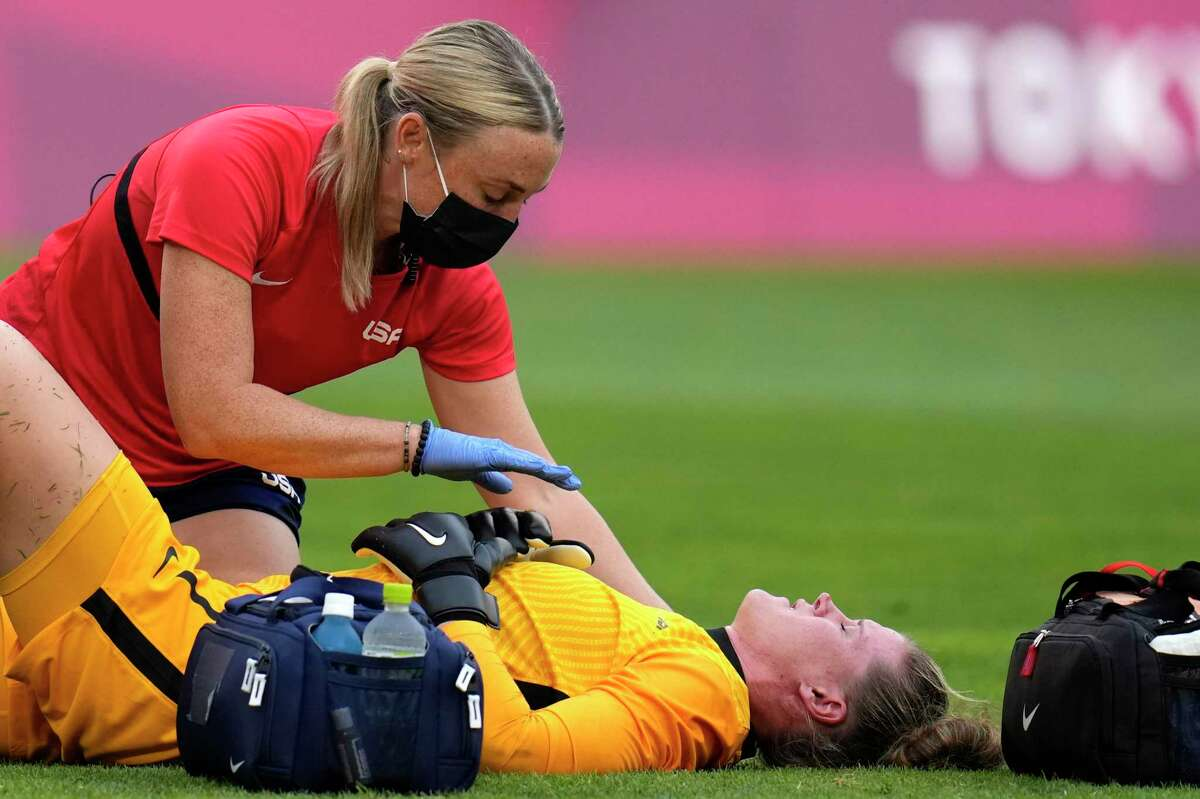 United States' goalkeeper Alyssa Naeher was injured and had to leave the semifinal match against Canada early.
