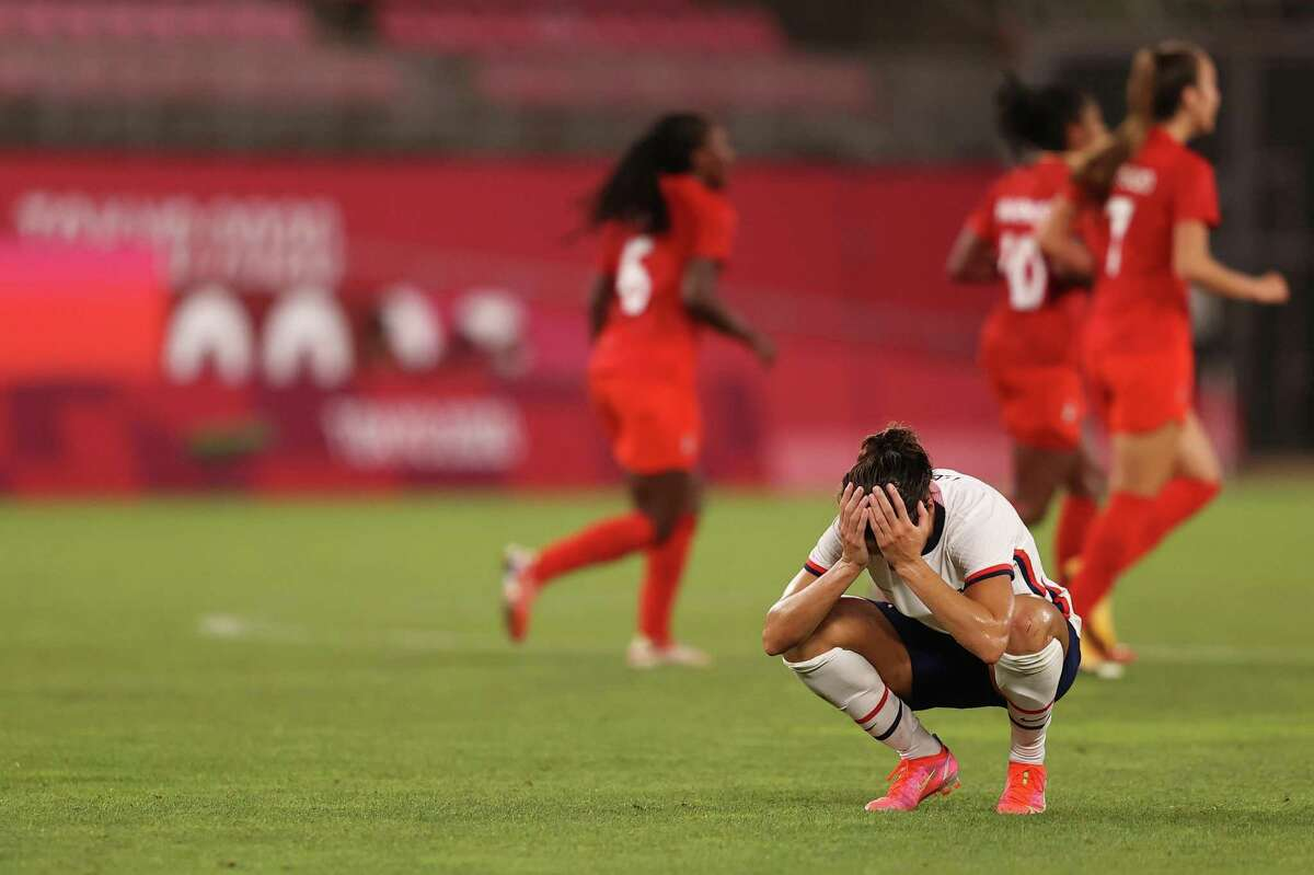 KASHIMA, JAPAN - AUGUST 02: Carli Lloyd #10 of Team United States looks dejected following defeat in the Women's Semi-Final match between USA and Canada on day ten of the Tokyo Olympic Games at Kashima Stadium on August 02, 2021 in Kashima, Ibaraki, Japan. (Photo by Francois Nel/Getty Images)