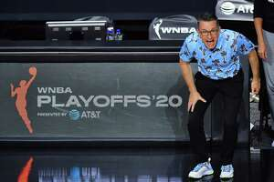 PALMETTO, FLORIDA - SEPTEMBER 17: Head coach Curt Miller of the Connecticut Sun reacts during the first half against the Los Angeles Sparks in Game One of their Second Round playoff at Feld Entertainment Center on September 17, 2020 in Palmetto, Florida. NOTE TO USER: User expressly acknowledges and agrees that, by downloading and or using this photograph, User is consenting to the terms and conditions of the Getty Images License Agreement. (Photo by Julio Aguilar/Getty Images)
