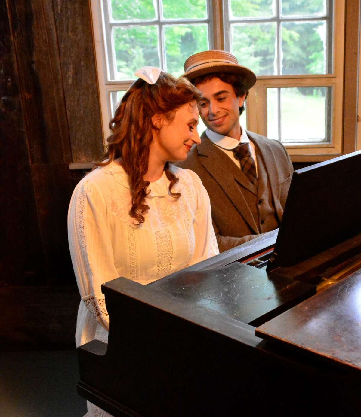 L-R: Victoria Erickson, soprano as Harmony Twichell; Joel Clemens, baritone at Charles Ives Photos by Sarah Lockwood, courtesy of Seagle Festival