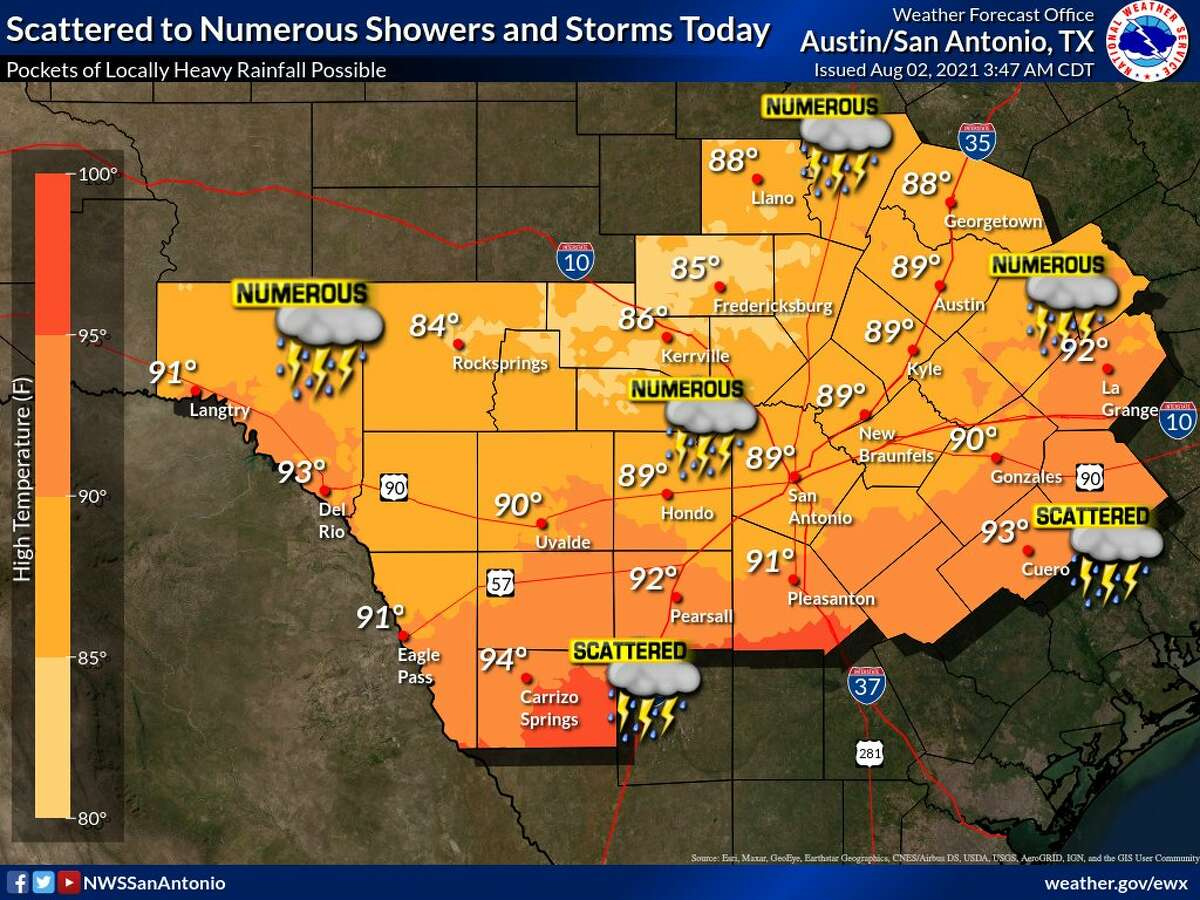 The National Weather Service is warning residents in and around San Antonio of possible flooding as showers and thunderstorms are likely most of this week.