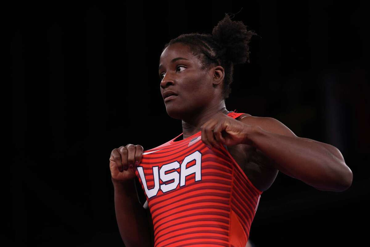Tamyra Marianna Mensah Stock of Team United States celebrates after defeating Alla Cherkasova of Team Ukraine during the Women's Freestyle 68kg Semifinal on day ten of the Tokyo 2020 Olympic Games at Makuhari Messe Hall on August 02, 2021 in Chiba, Japan.