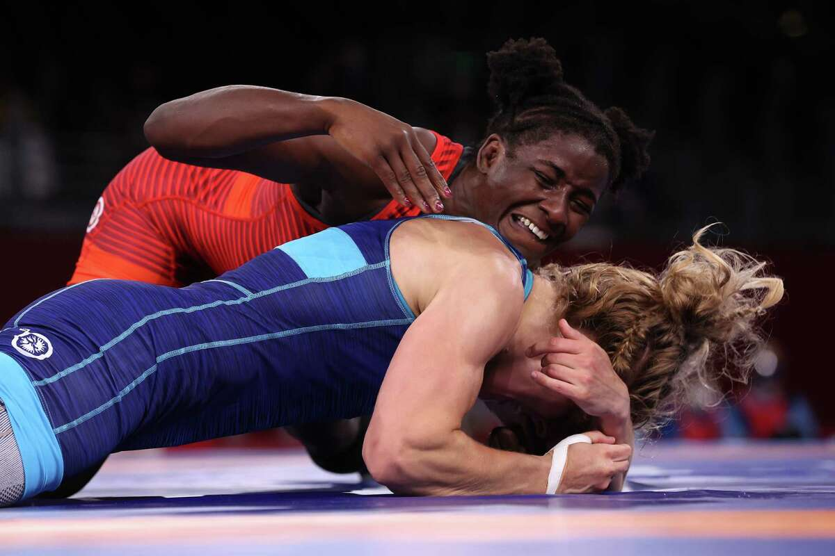 Tamyra Marianna Mensah Stock of Team United States competes against Alla Cherkasova of Team Ukraine during the Women's Freestyle 68kg Semifinal on day ten of the Tokyo 2020 Olympic Games at Makuhari Messe Hall on August 02, 2021 in Chiba, Japan.