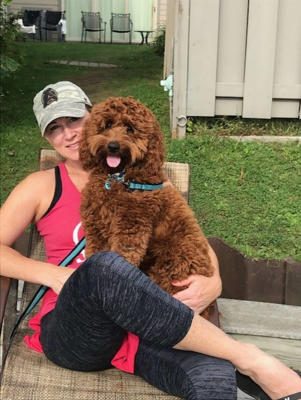 Kelly Lynch with her dog Oliver.