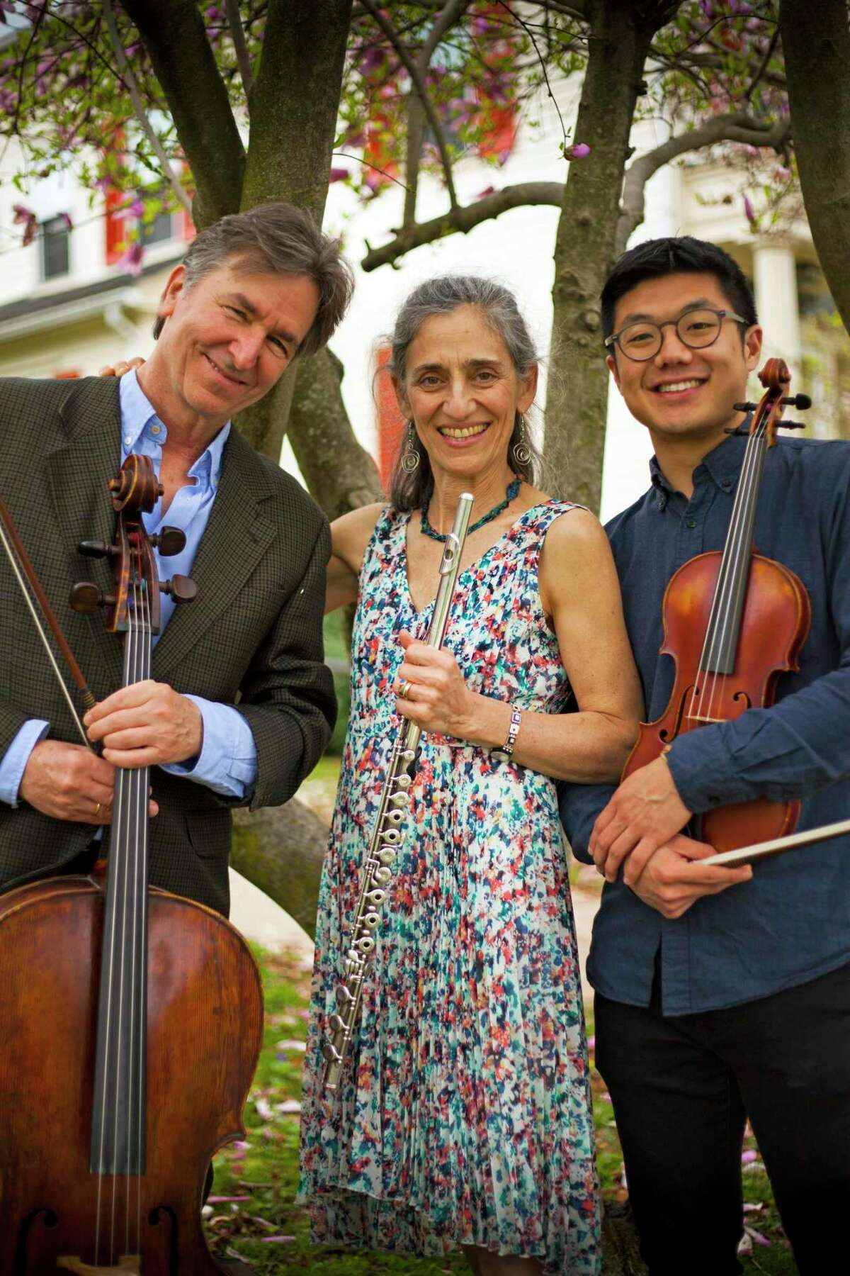 From left: Sherman Chamber Ensemble Artistic Director Eliot Bailen (cello); Susan Rotholz (flute); and Door Na (violin).