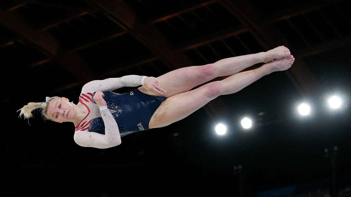 Jade Carey, of United States, performs on the floor exercise during the artistic gymnastics women's apparatus final at the 2020 Summer Olympics.