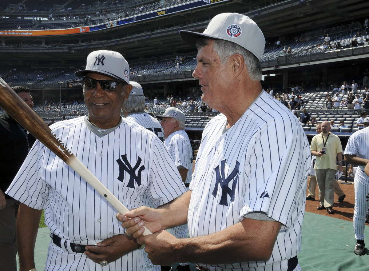 Lou Piniella, right, at the 66th annual Old-Timers' Day before the Yankees faced the White Sox, at Yankee Stadium in New York, July 1, 2012 (Barton Silverman/The New York Times)