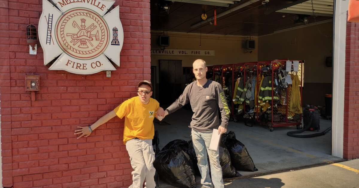 Following a fire in Philmont this spring that left 14 residents homeless, Brock Hathaway, left, coordinated the donation of shirts to give to the victims who had lost their possessions and clothes. Now he is gearing up for his first fundraiser for local firefighters through his non-profit, Hathaway's Helping Hand.