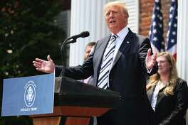 Former U.S. President Donald Trump speaks during a news conference announcing a class action lawsuit against big tech companies at the Trump National Golf Club Bedminster on July 7, 2021, in Bedminster, New Jersey. (Michael M. Santiago/Getty Images/TNS)