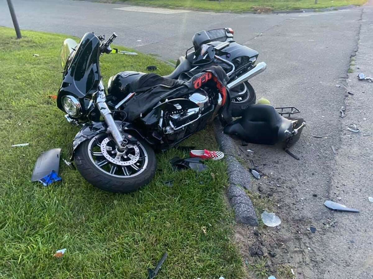 A motorcycle involved in a crash in Brookfield, Conn., on Saturday, July 31, 2021.