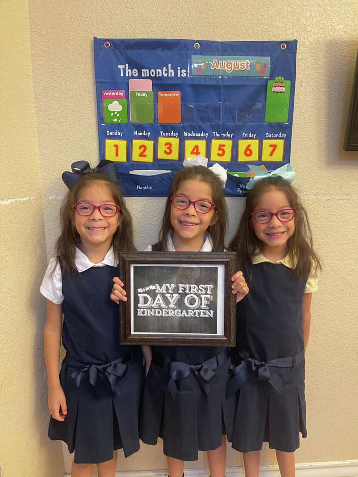 First day of school --Triplet's first day of Kindergarten