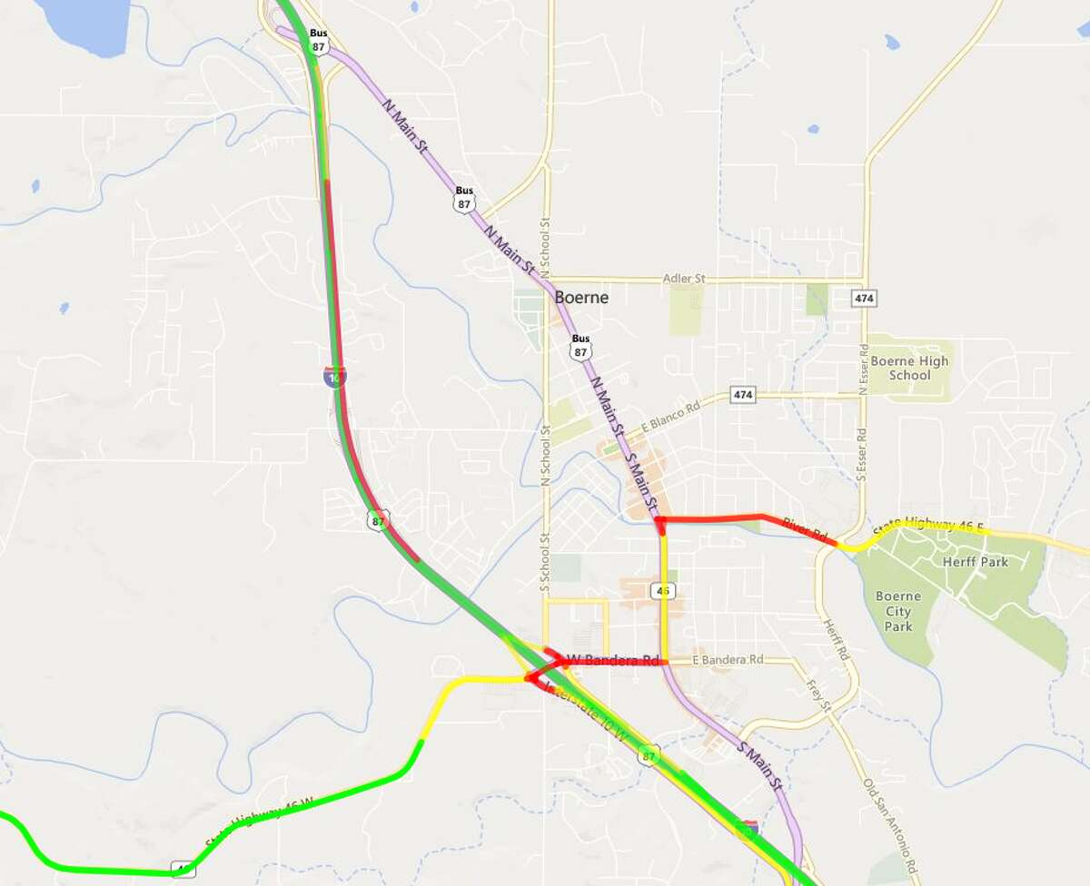 The westbound lane of Interstate 10 is closed due to a fatal crash at Ranger Creek Road. The map shows the traffic in the area caused by the crash.