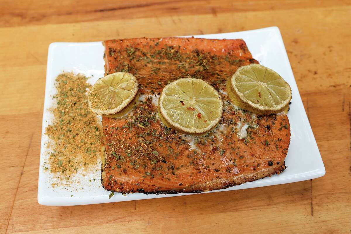 Smoked salmon prepared with Flippin Fins Seafood Rub at Chuck's Food Shack