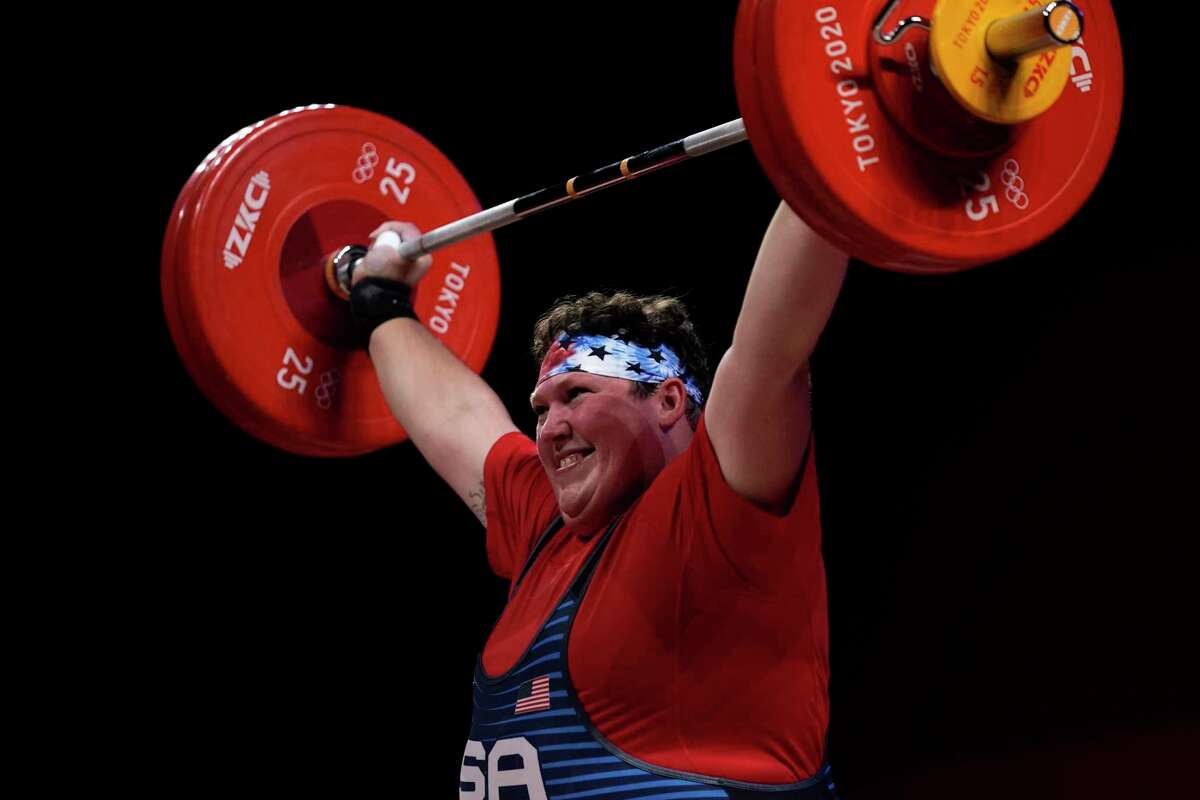 Sarah Robles, who trains in Houston, make a lift in the women's +87kg weightlifting event at the 2020 Summer Olympics.