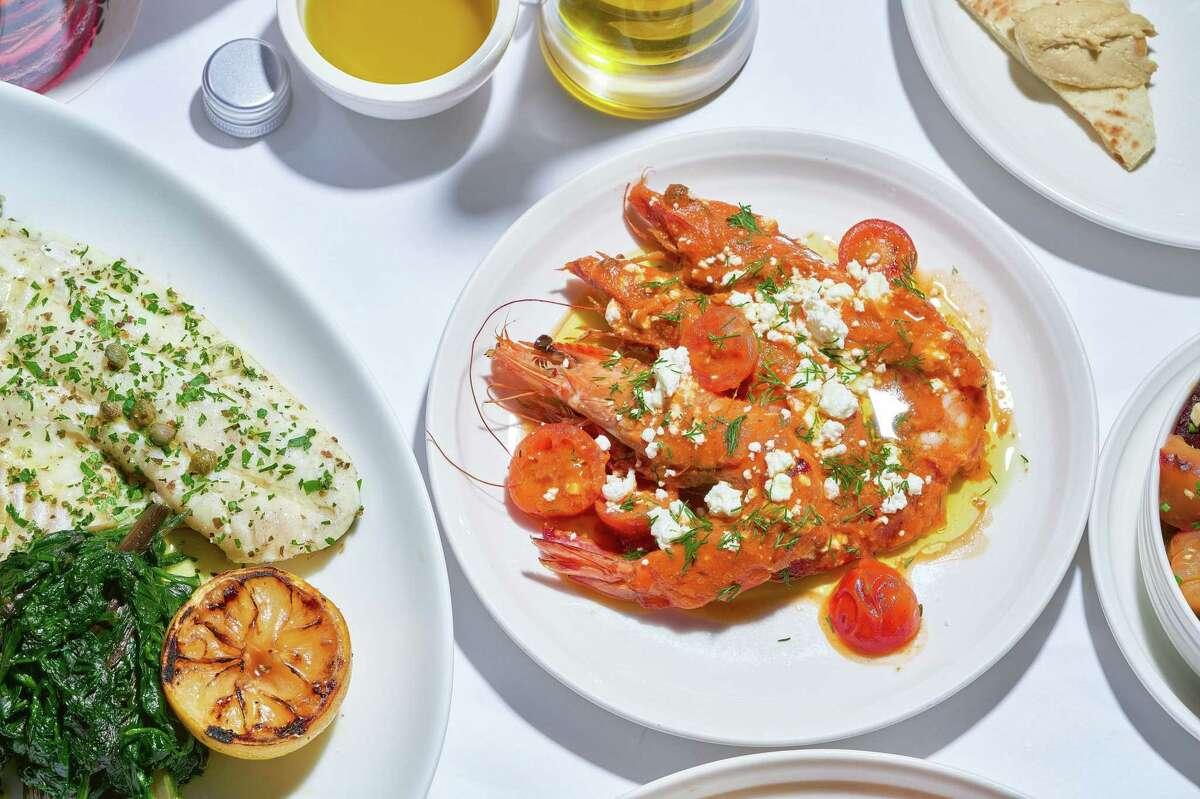 Ouzo prawns in a spicy tomato sauce with dill and feta at Estiatorio Ornos, Michael Mina's upcoming San Francisco restaurant.