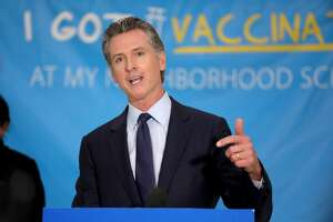 California Gov. Gavin Newsom at a COVID-19 vaccination site on May 27, 2021, in Los Angeles.