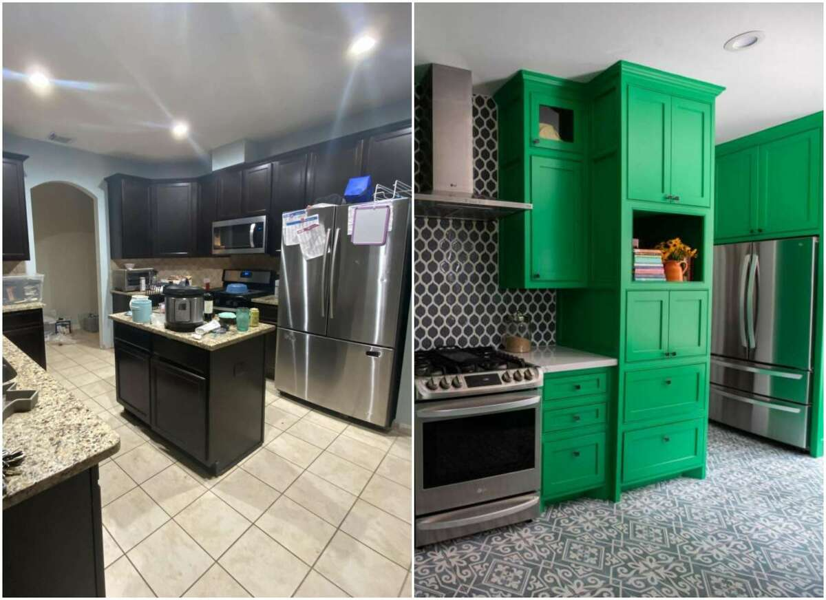 A burst pipe damaged Ilse and Basil Benard's kitchen in February; now it sparkles in a blue-and-green color palette.