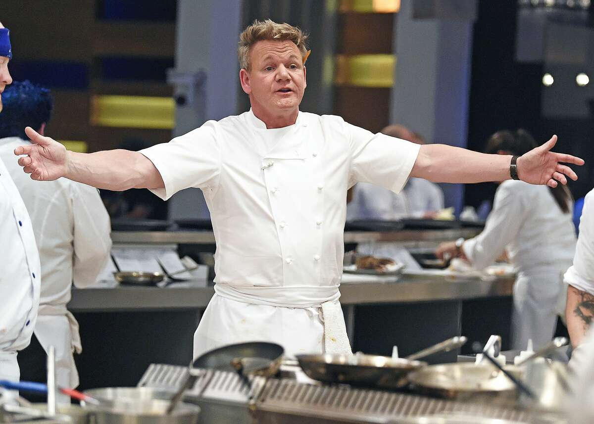 """Chef/host Gordon Ramsay in the """"Metal & Marina episode of Hell's Kitchen airing Thursday, Feb. 11 on FOX. (Photo by FOX via Getty Images)"""