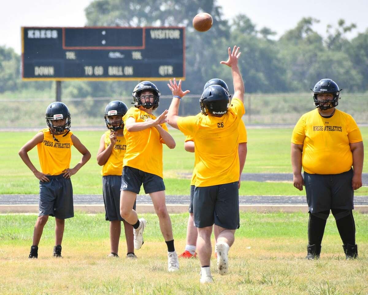 The Kress football team practices on Monday.