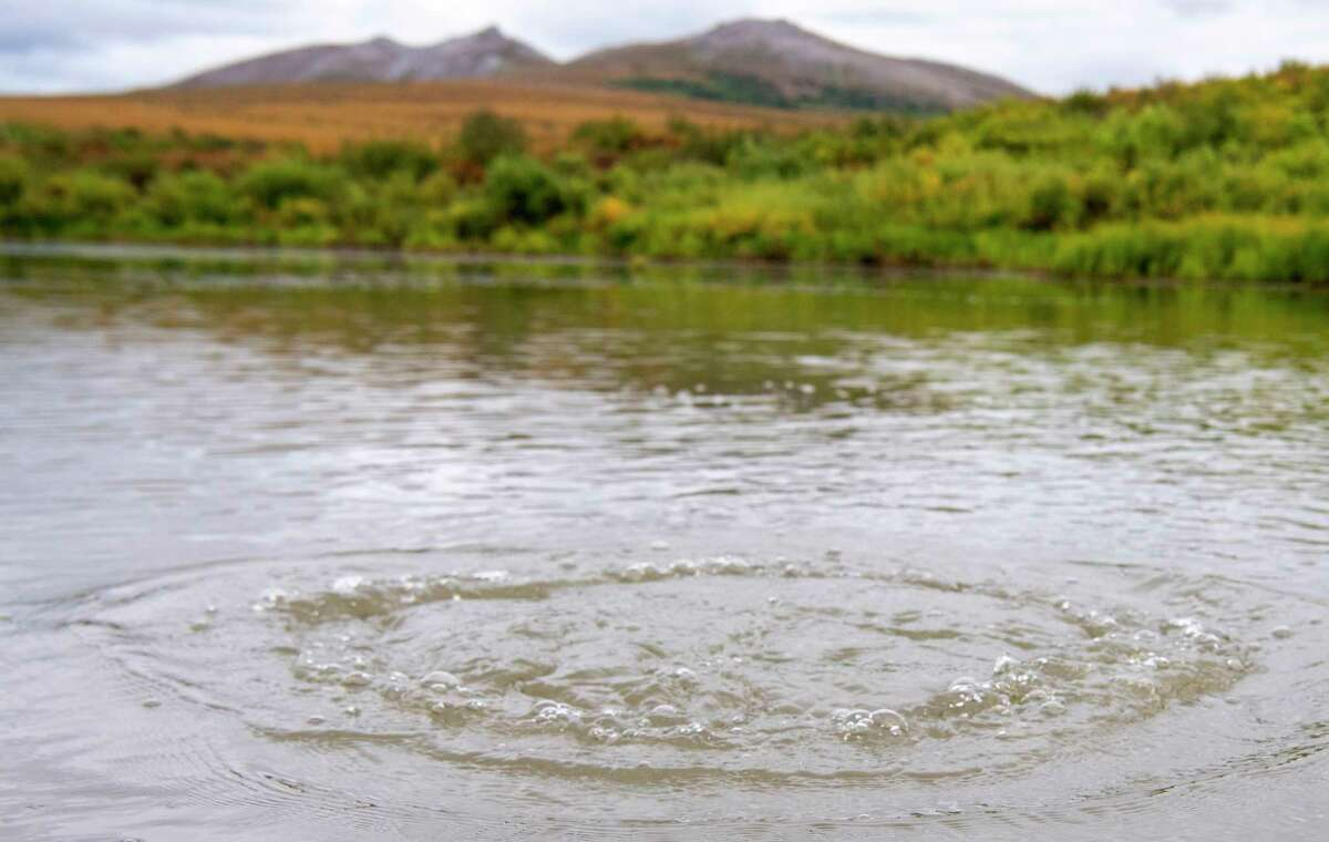 Methane gas is released from seep holes at the bottom of Esieh Lake, Alaska.