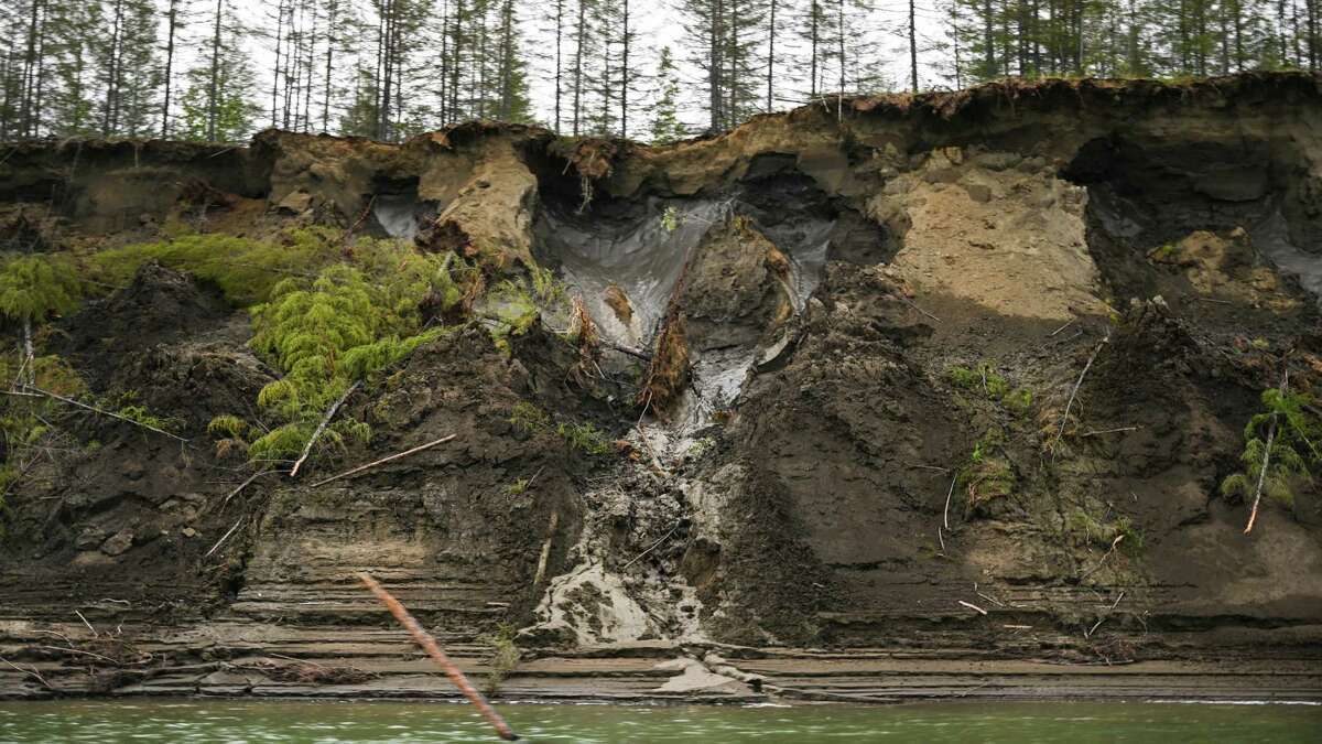 Permafrost, seen at the top of the cliff, melts into the Kolyma River outside of Zyryanka, Russia, in July 2019. A new study has found that methane is being released not only from thawing wetlands but also from thawing limestone.
