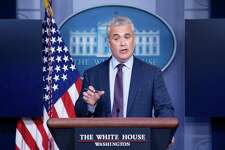 Jeff Zients, the White House COVID-19 response czar, speaks during a press briefing at the White House on April 13, 2021, in Washington, D.C. (Brendan Smialowski/AFP/Getty Images/TNS)