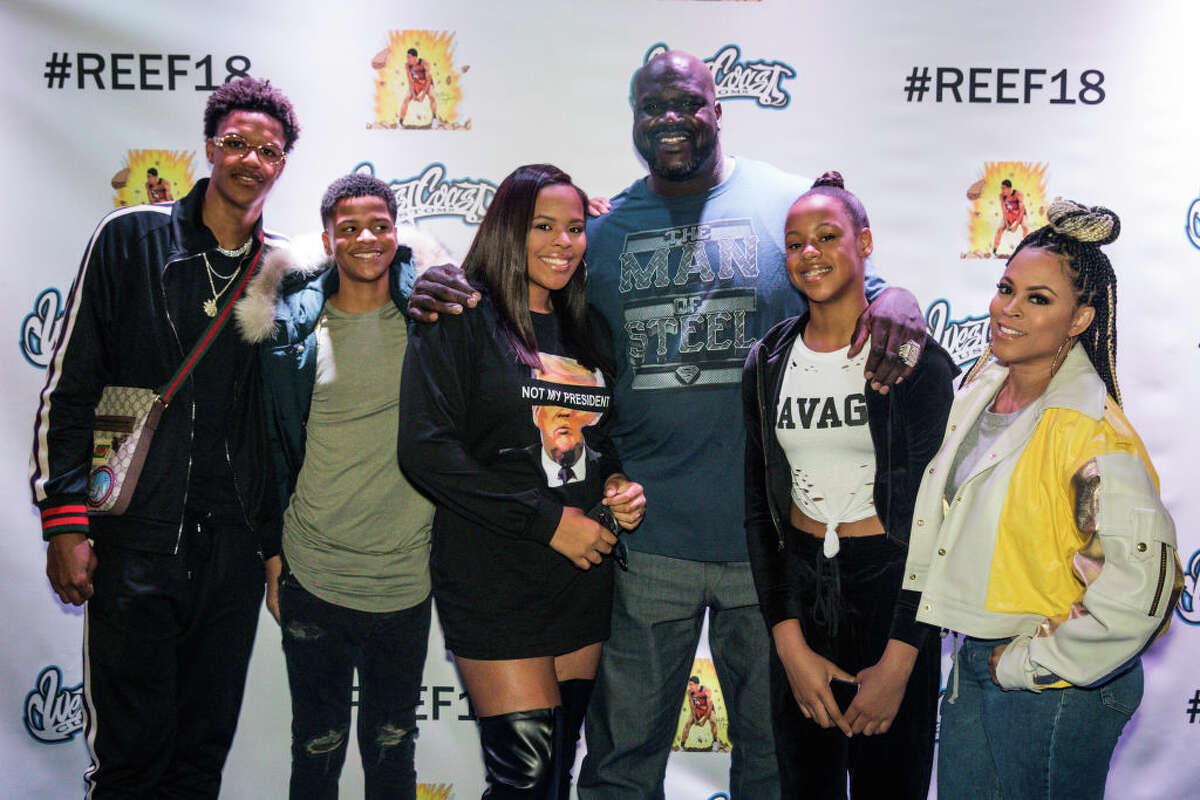 """FILE: Amirah """"Mimi"""" O'Neal, pictured third from left in 2018, the daughter of NBA Hall of Famer Shaquille O' Neal and VH1's Basketball Wives' star and executive producer, Shaunie O' Neal, has committed to play basketball at Texas Southern University, according to an Instagram post. Her younger brother, Shaqir, second from left, will also play at TSU."""