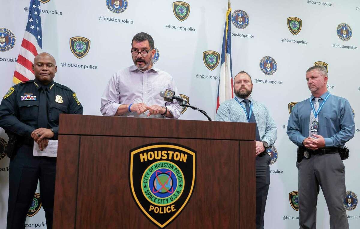 Paul Castro speaks during a press conference announcing the arrest of Gerald Williams, 34, who was wanted on a murder charge for the death of Castro's 17-year-old son, David Castro, at Houston Police Department headquarters in downtown Houston, Monday, Aug. 2, 2021. Castro was killed July 6 during a road rage incident that belong after an Astros game and extended onto Interstate 10.