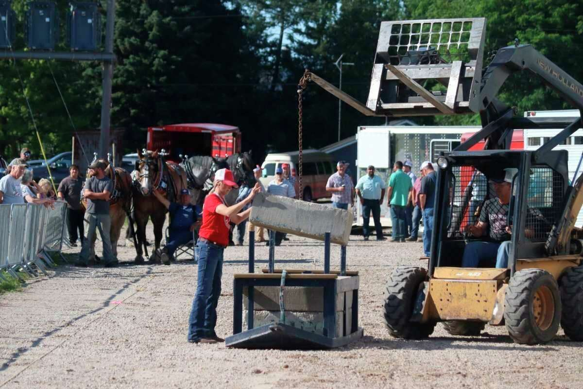 During theheritage horse pull competition at the Manistee County Fair, theonly requirement isa team must pull the load 27.5 feet on a continuous pull to qualify for the next load. (File photo)