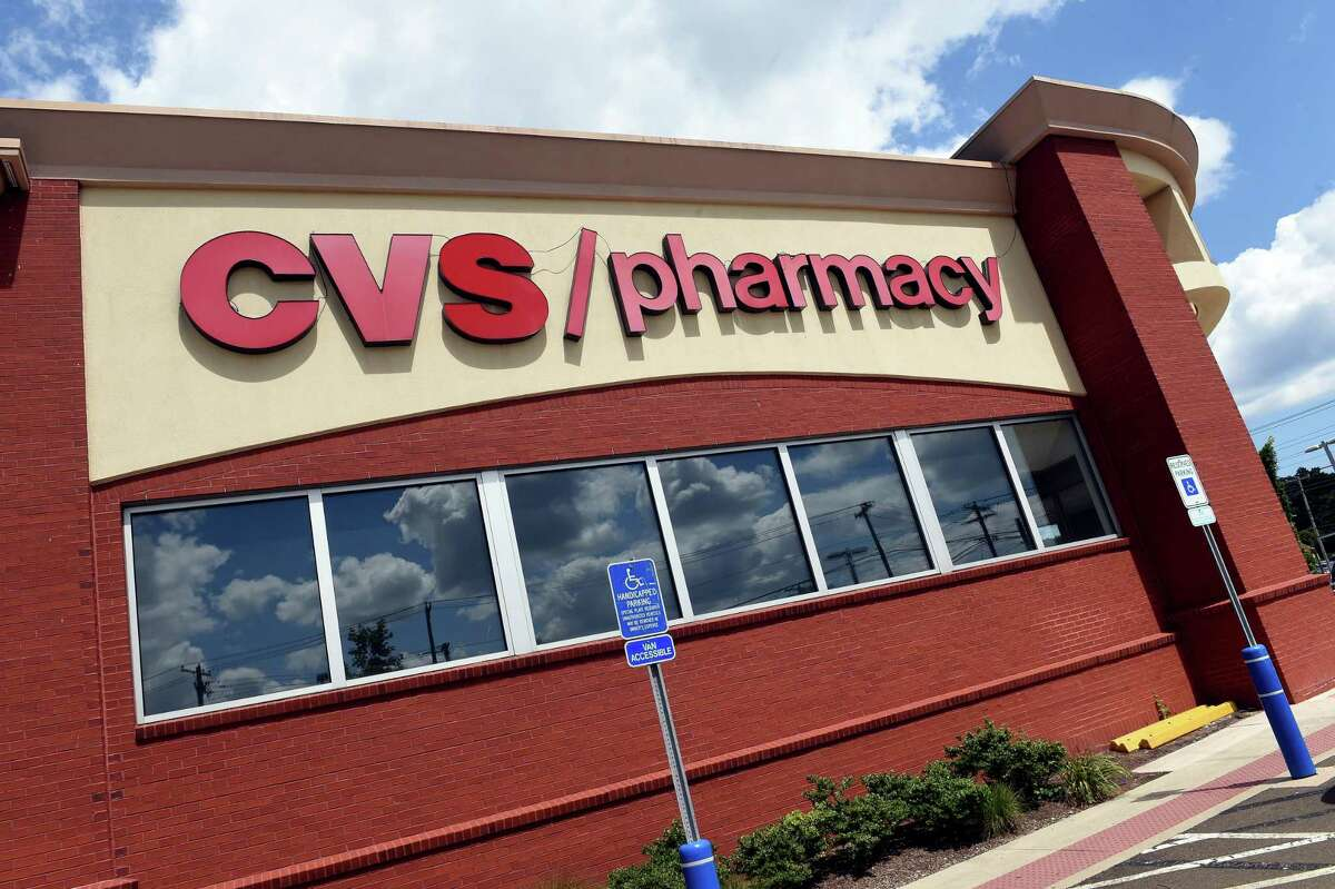 The CVS pharmacy at 734 Bridgeport Ave. in Milford Aug. 2, 2021. The store now has two self-checkout registers.
