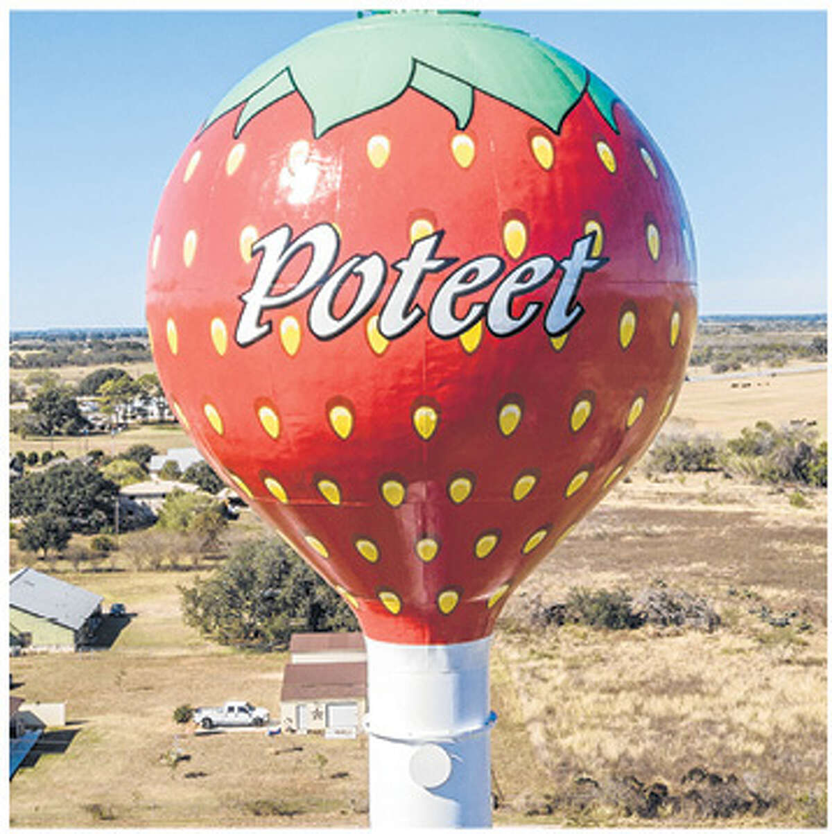 The City of Poteet's recently repainted strawberry water tower has been featured on several TV travel shows and websites.