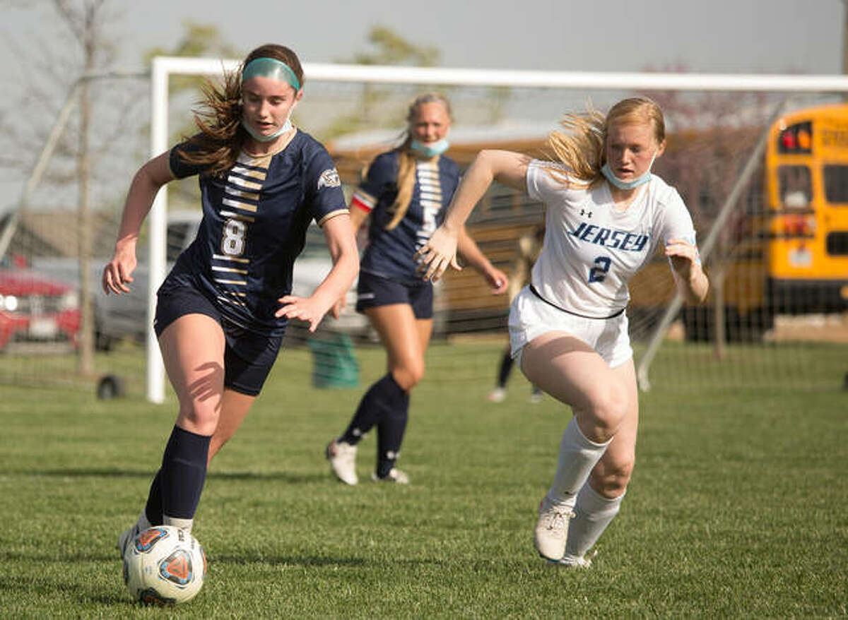 Adelyn Speight, left, was the leading scorer for the Father McGivney girls soccer team during the 2021 season.