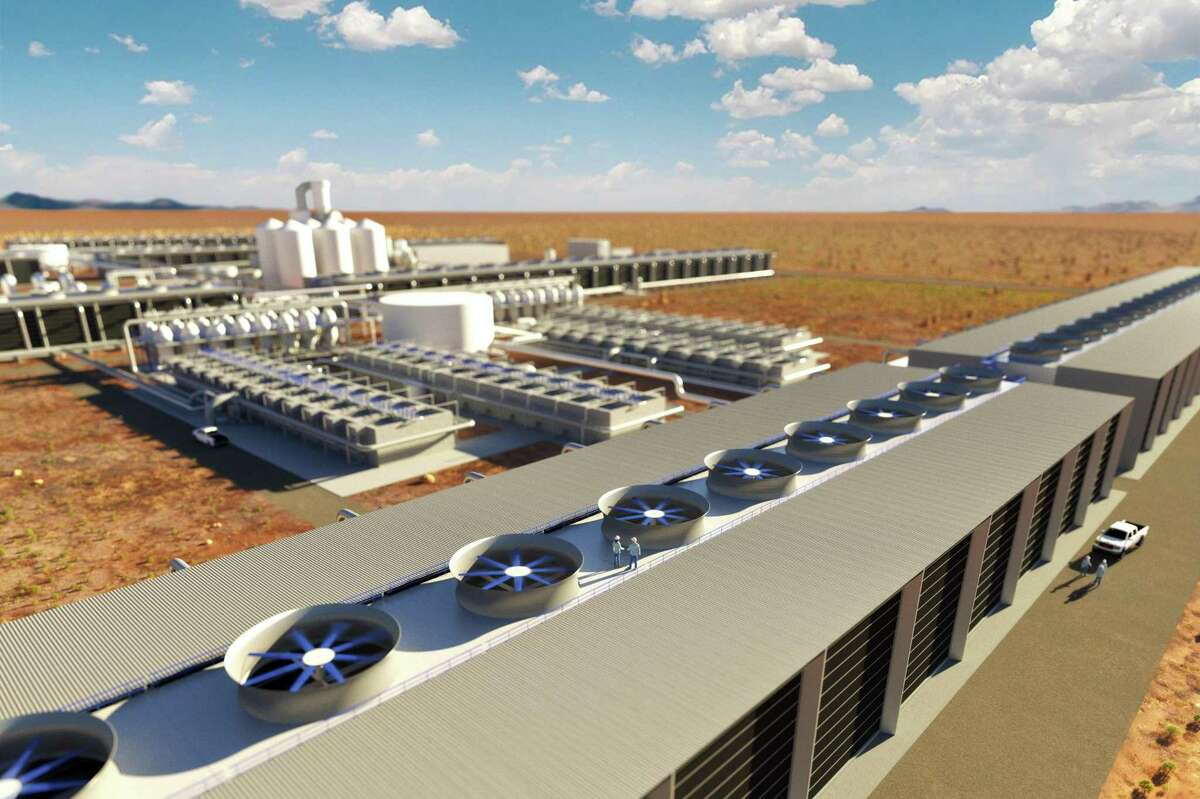Rendering showing first look at Occidental Petroleum's proposed direct-air capture plant in the Permian Basin. The bipartisan infrastructure bill calls for $3.5 billion to held fund carbon capture and storage projects.