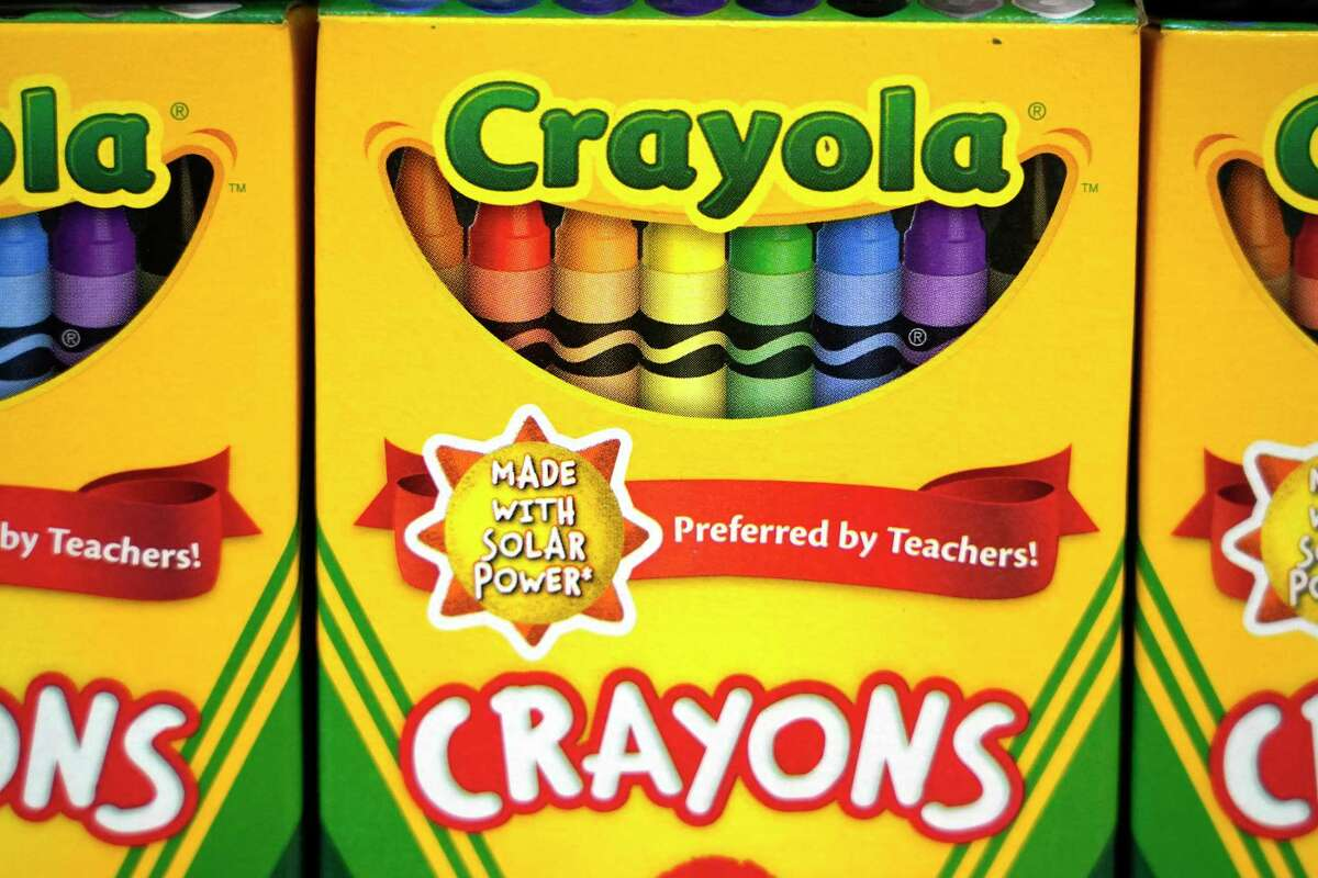 Crayons are displayed among the school supplies at Walmart, 5405 South Rice, Friday, July 30, 2021 in Houston.