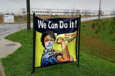 A sign at the entrance of Amazon's Bessemer warehouse during a union campaign in early 2021 to organize its nearly 6,000 workers.