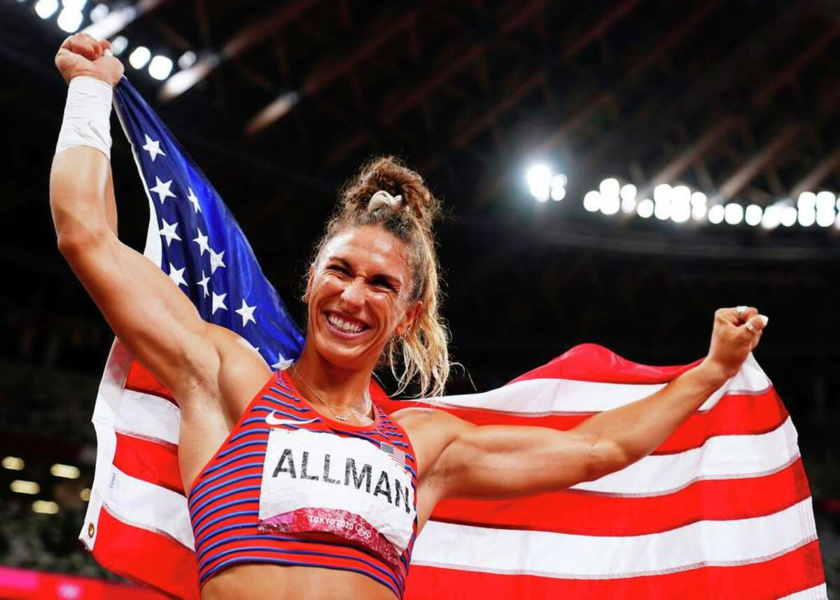 American discus thrower Valarie Allman, who competed at Stanford, celebrates after winning the gold medal in Tokyo.