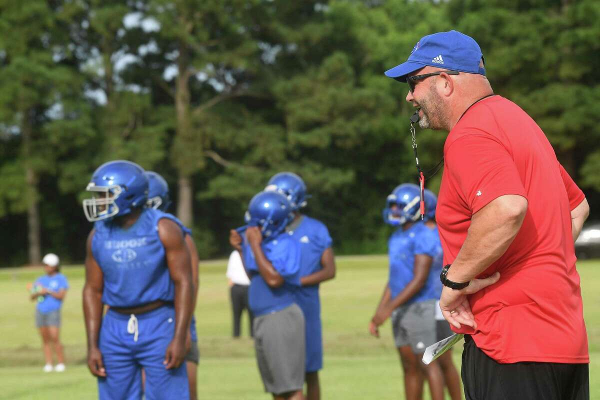 West Brook begins practice Monday for the 2021 football season. Photo made Monday, August 2, 2021 Kim Brent/The Enterprise