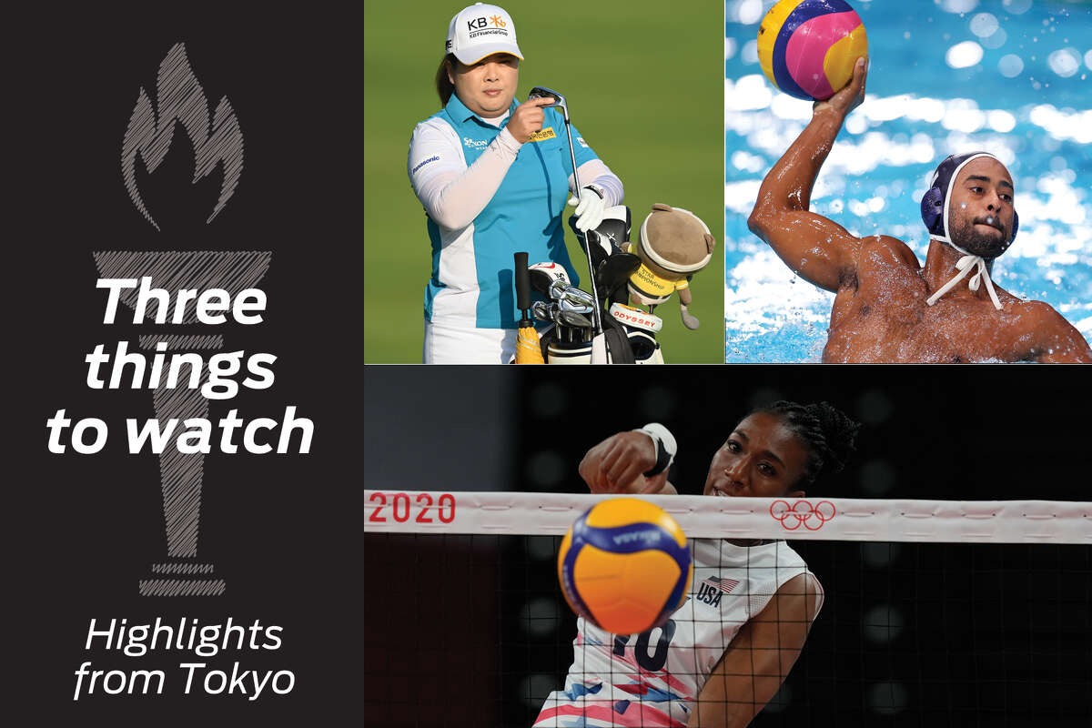 Clockwise, from top left: Inbee Park (South Korea golf), Max Irving (U.S. water polo) and Foluke Akinradewo Gunderson (U.S. volleyball) highlight Olympic action.