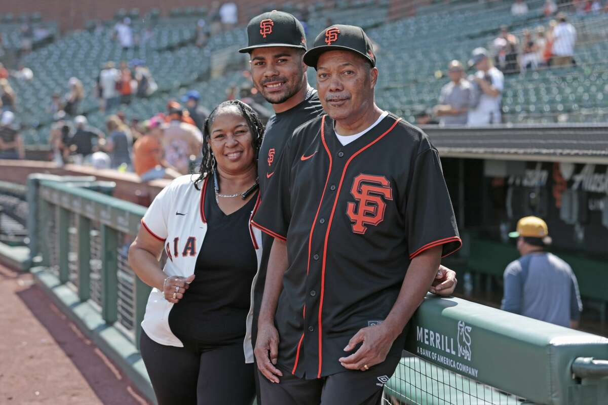 LaMonte Wade Jr.'s parents, Emily and LaMonte Sr., traveled from Baltimore to watch their son play at Oracle Park.